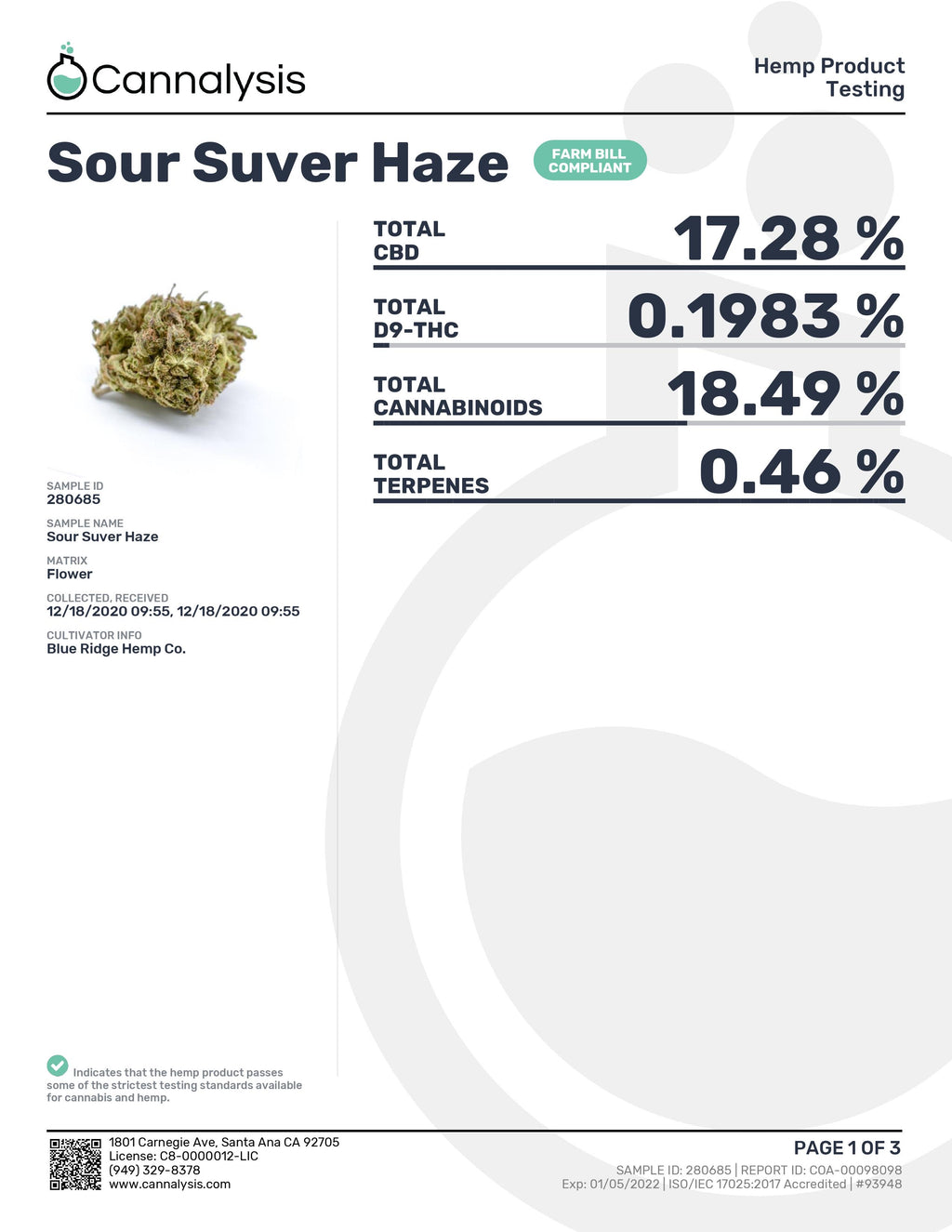 SOUR Suver Haze Strain Blue Ridge Selects Flower (NEW)