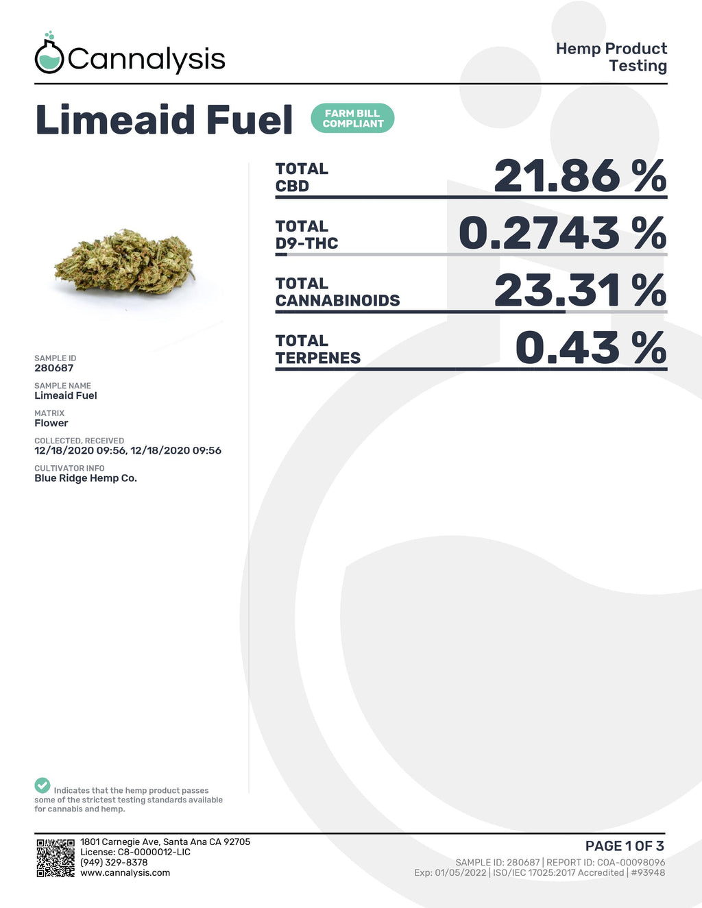 Limeaid Fuel Strain Blue Ridge Selects Flower (New)
