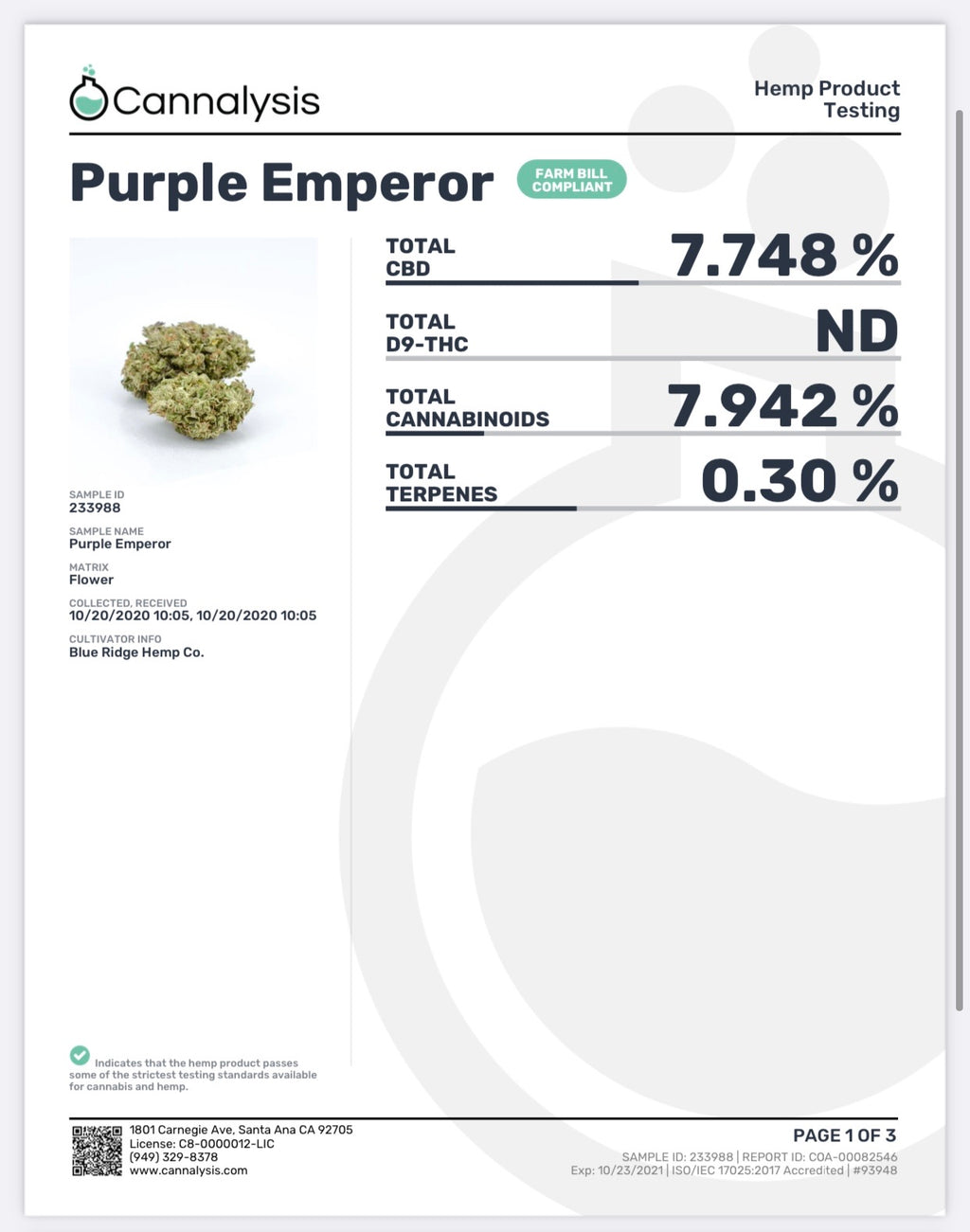 Purple Emperor Strain Tastemakers Hemp Exotics (New)