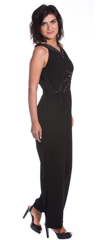 Black jumpsuit with embroidered V neck
