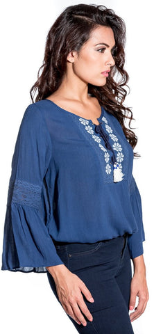 Blue blouse with lantern sleeves