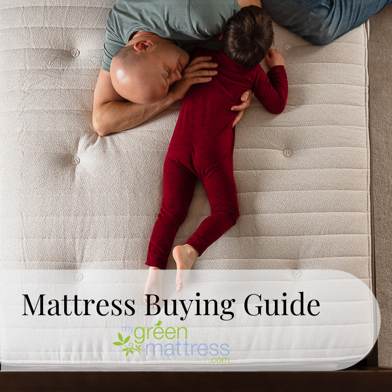 Father and son on green mattress, promoting mattress buying guide