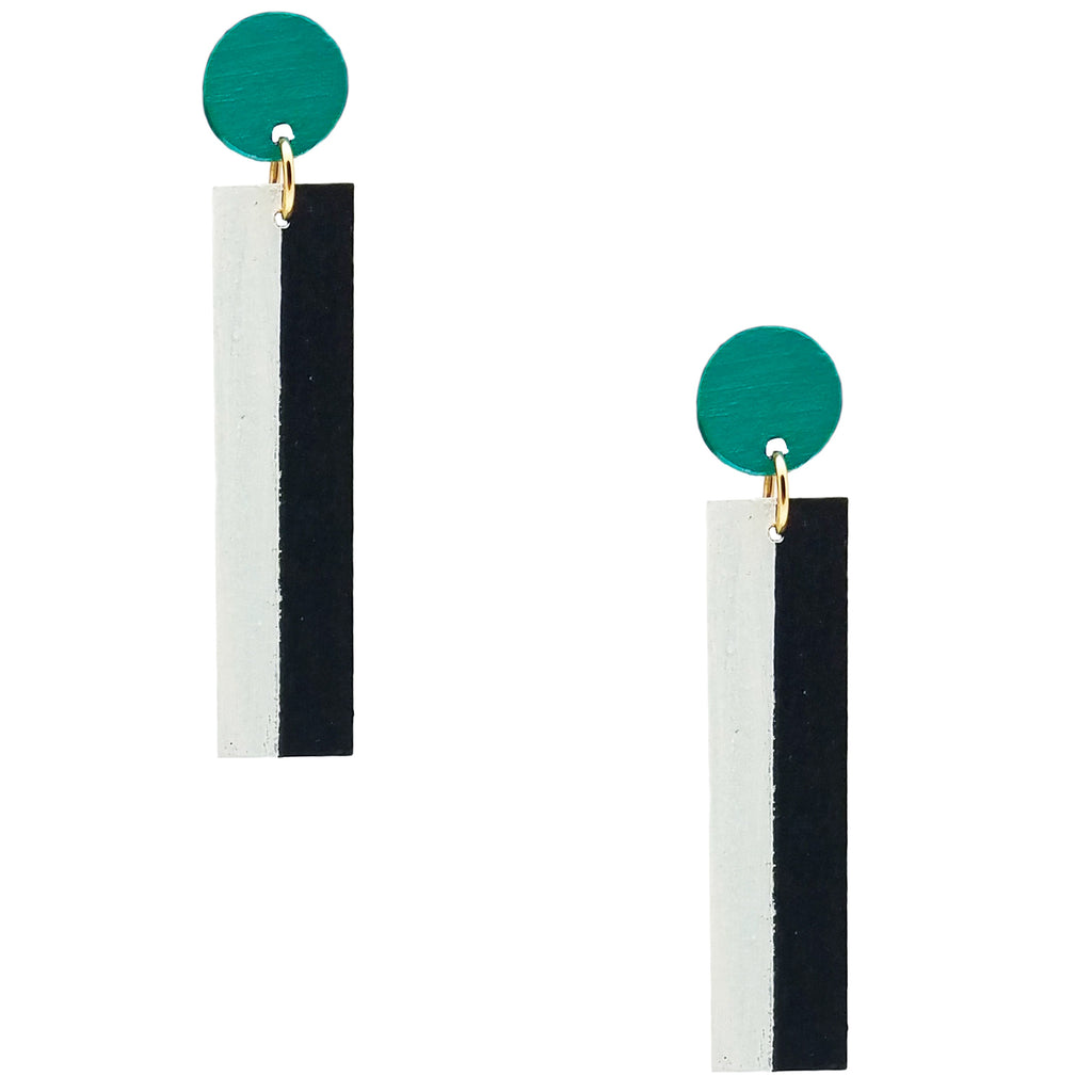 Geometric teal, white, and black color blocked statement earrings by the brand SCOTCHBONNET.