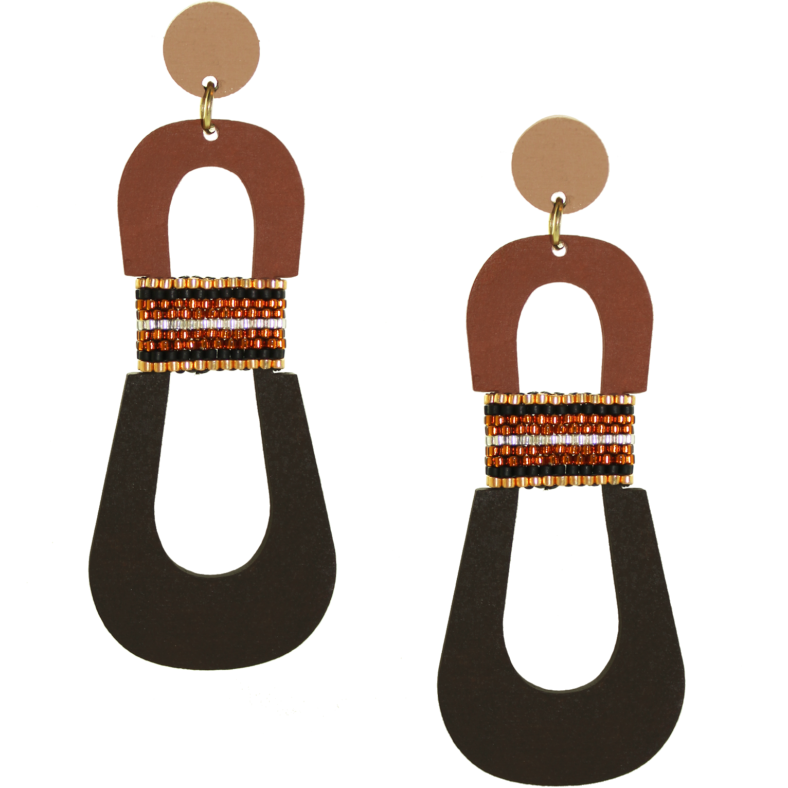 Modern, curvy, color blocked neutral tone statement earrings with hand-beaded accents by the brand SCOTCHBONNET.