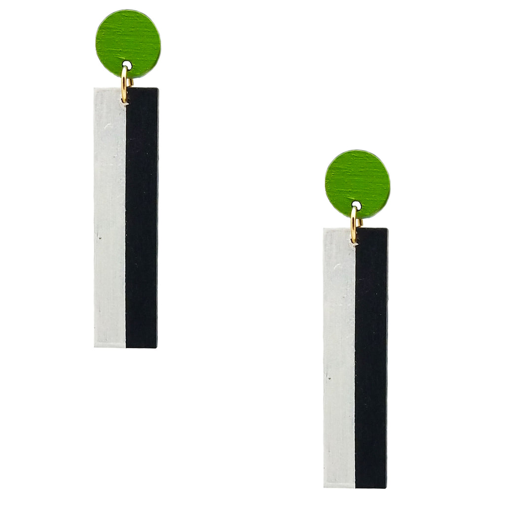 Geometric chartreuse, white, and black color blocked statement earrings by the brand SCOTCHBONNET.