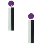 Geometric purple, white, and black color blocked statement earrings by the brand SCOTCHBONNET.