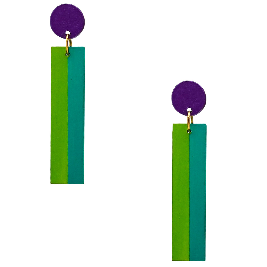 Geometric color blocked statement earrings in bright shades of purple, green and teal by the brand SCOTCHBONNET.