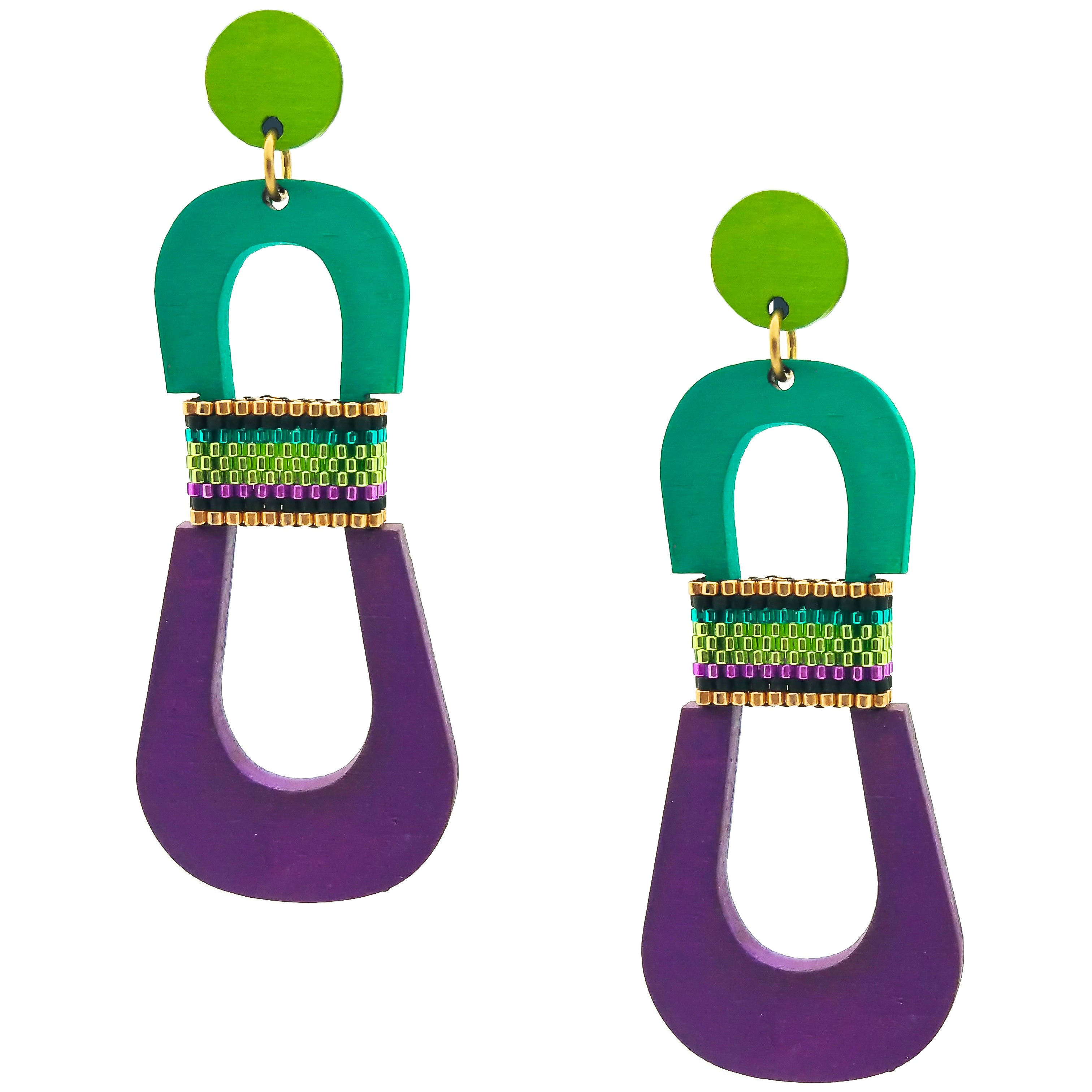 Modern, curvy, chartreuse, teal, and purple color blocked statement earrings with hand-beaded accents by the brand SCOTCHBONNET.