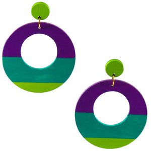 Large, round,  chartreuse, teal and purple color blocked neutral tone statement earrings by the brand SCOTCHBONNET.