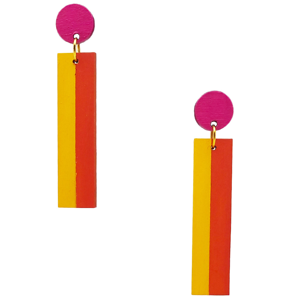 Geometric color blocked statement earrings in bright shades of magenta, orange and yellow by the brand SCOTCHBONNET.
