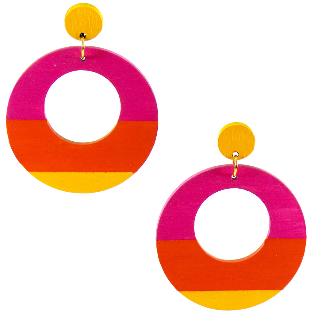 Large, round, yellow, magenta and orange color blocked neutral tone statement earrings by the brand SCOTCHBONNET.