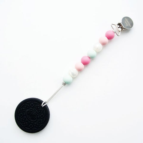 Oreo Cookie silicone teether with holder - Pink Mint