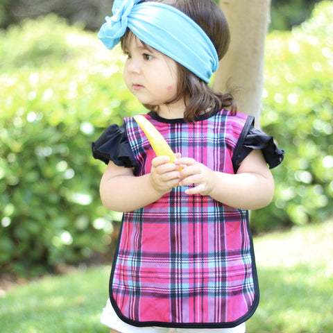 Hot Pink Plaid Bapron for Toddlers 6m-3T