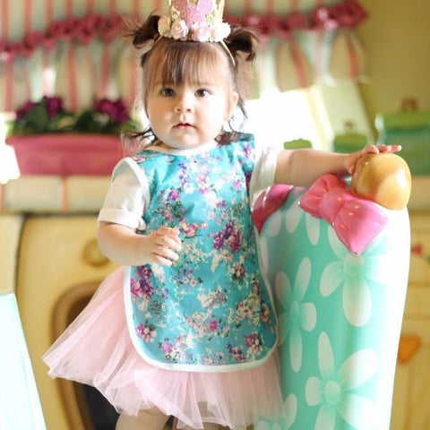 Teal and Violet Distressed Floral  Bapron for Toddlers 6m-3T