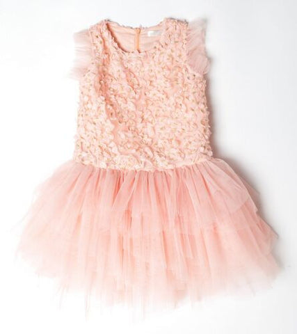 Tiara Petal Embellished Dress Pink