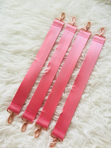 1.5 inches Pink Seatbelt Straps - With Rose Gold Hardware A (Short Non-adjustable)