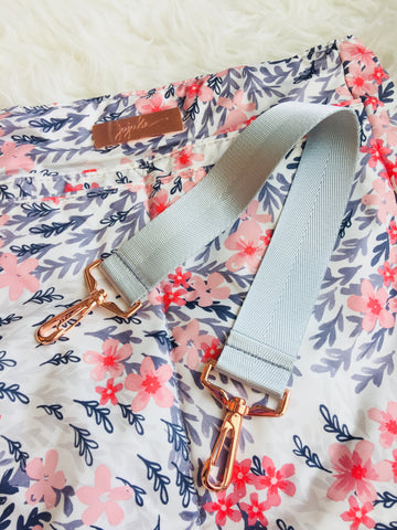 1.5 inches Silver Seatbelt Straps - With Rose Gold Hardware B (Short Non-adjustable)