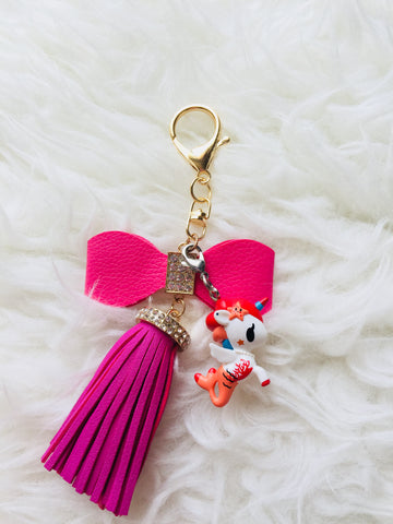 Cora with PU Leather Bow Tassel Charm