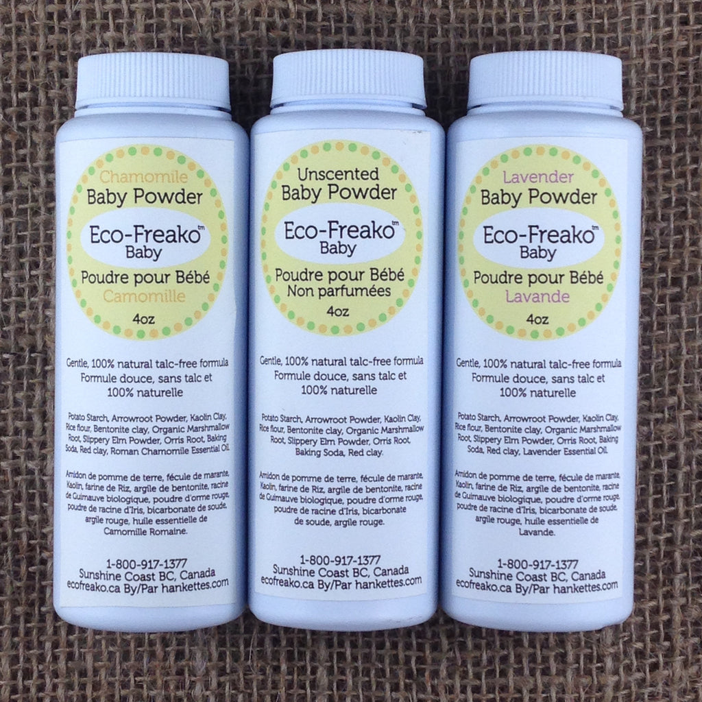 3 varieties of Eco-Freako Talc Free Baby Powder