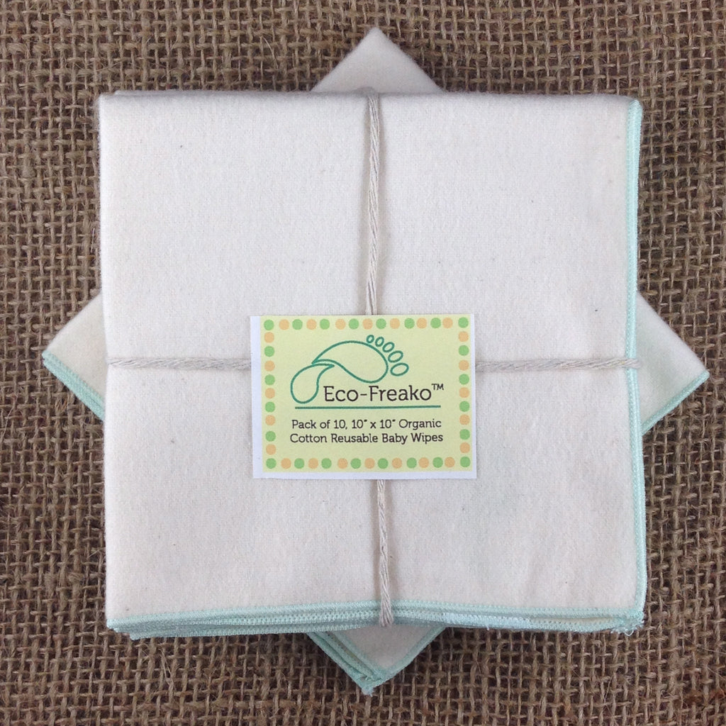 Pack of 10 Eco-Freako Reusable Organic Cotton Baby Wipes