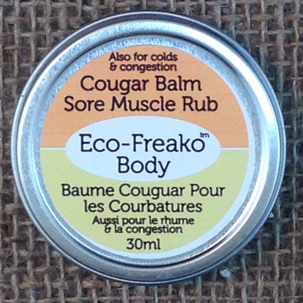Eco-Freako Cougar Balm Sore Muscle Rub in 30ml Metal Tin