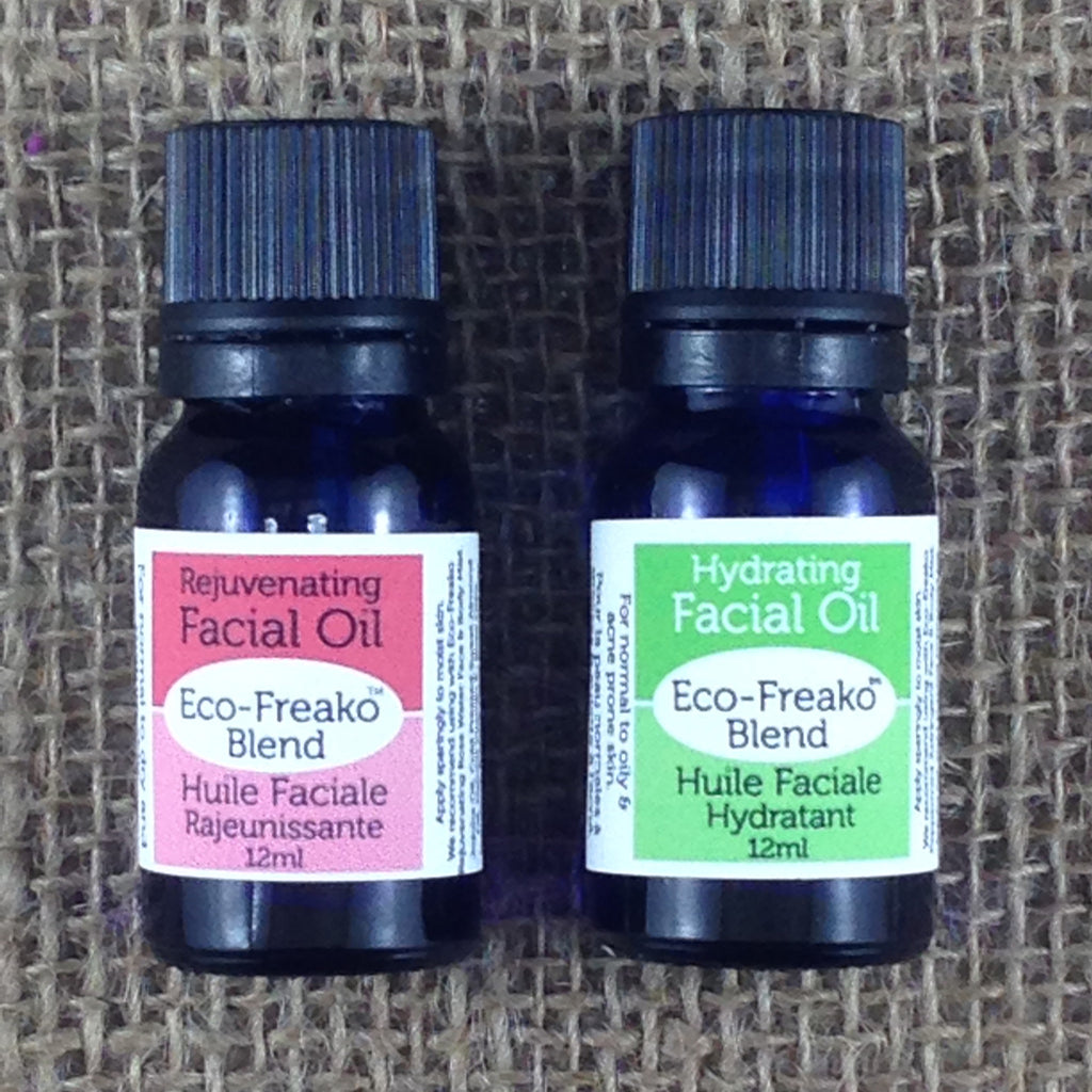 Eco-Freako Rejuvenating Rosewater and Hydrating Peppermint Facial Oils in 12ml Glass bottles