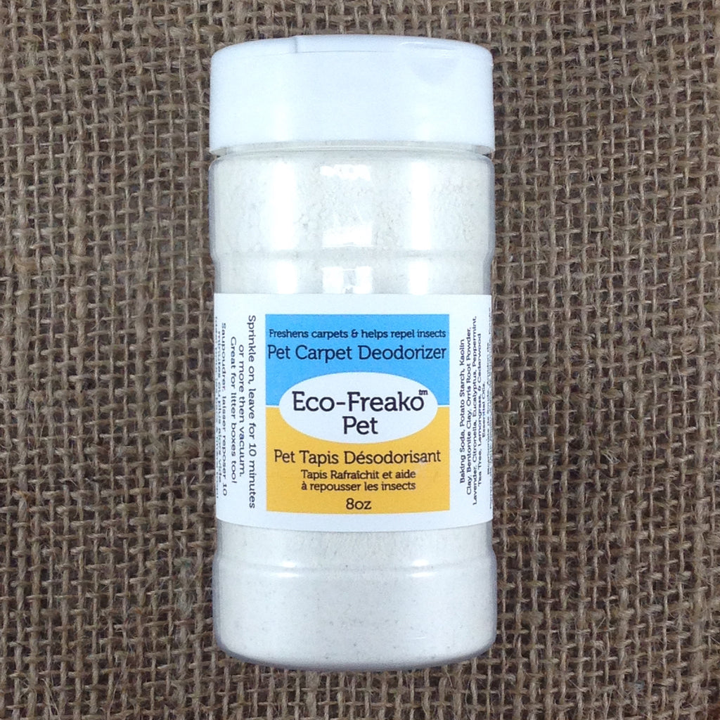Eco-Freako Pet Carpet Deodorizer in 8oz shaker bottle