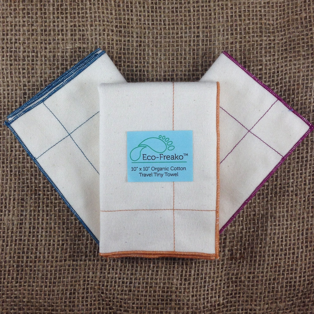 3 Eco-Freako Organic Cotton Tiny Towels