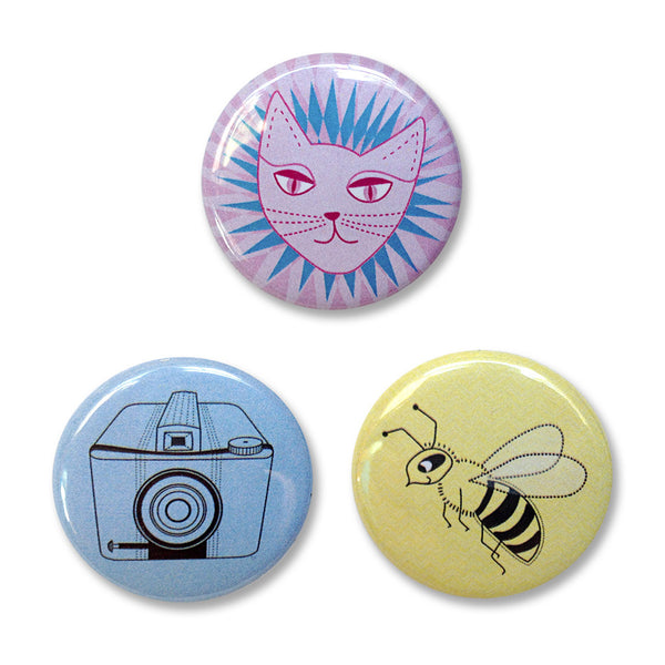 Pin Back Buttons Set 1– A cat, a camera, and a bee.
