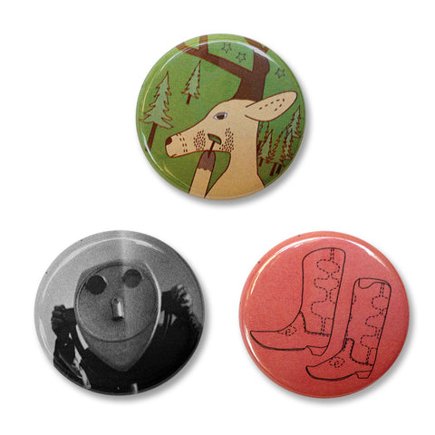 Pin Back Buttons Set 3 – A deer, a tower optical viewer, and cowboy boots.