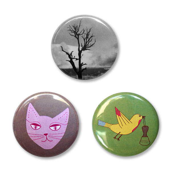 Pin Back Buttons Set 2 – A cat, the grand canyon, and a bird.