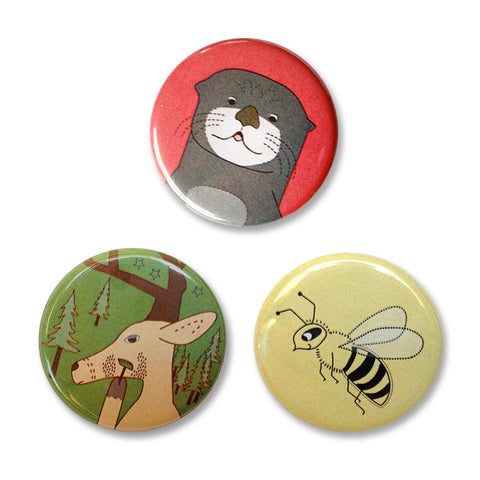 Pin Back Button Set 4 – Otter, Bee, and Deer Pin Back Buttons