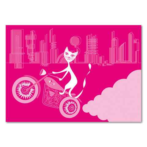 Eat My Exhaust – Pink Motor Kitty Postcards (10 pack)