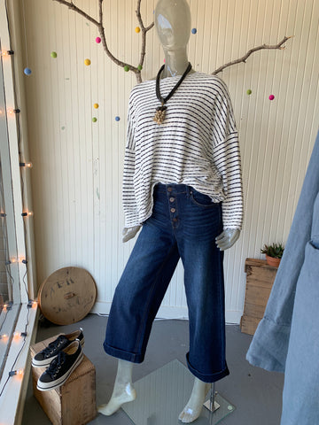 Wide Leg Button Up Jeans