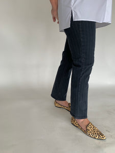 Cropped Shadow Stripe Kick Flare Jeans