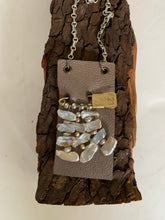 Load image into Gallery viewer, Leather and Pearl Pendant Necklace
