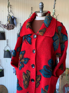 Wool Butterfly Car Coat Red