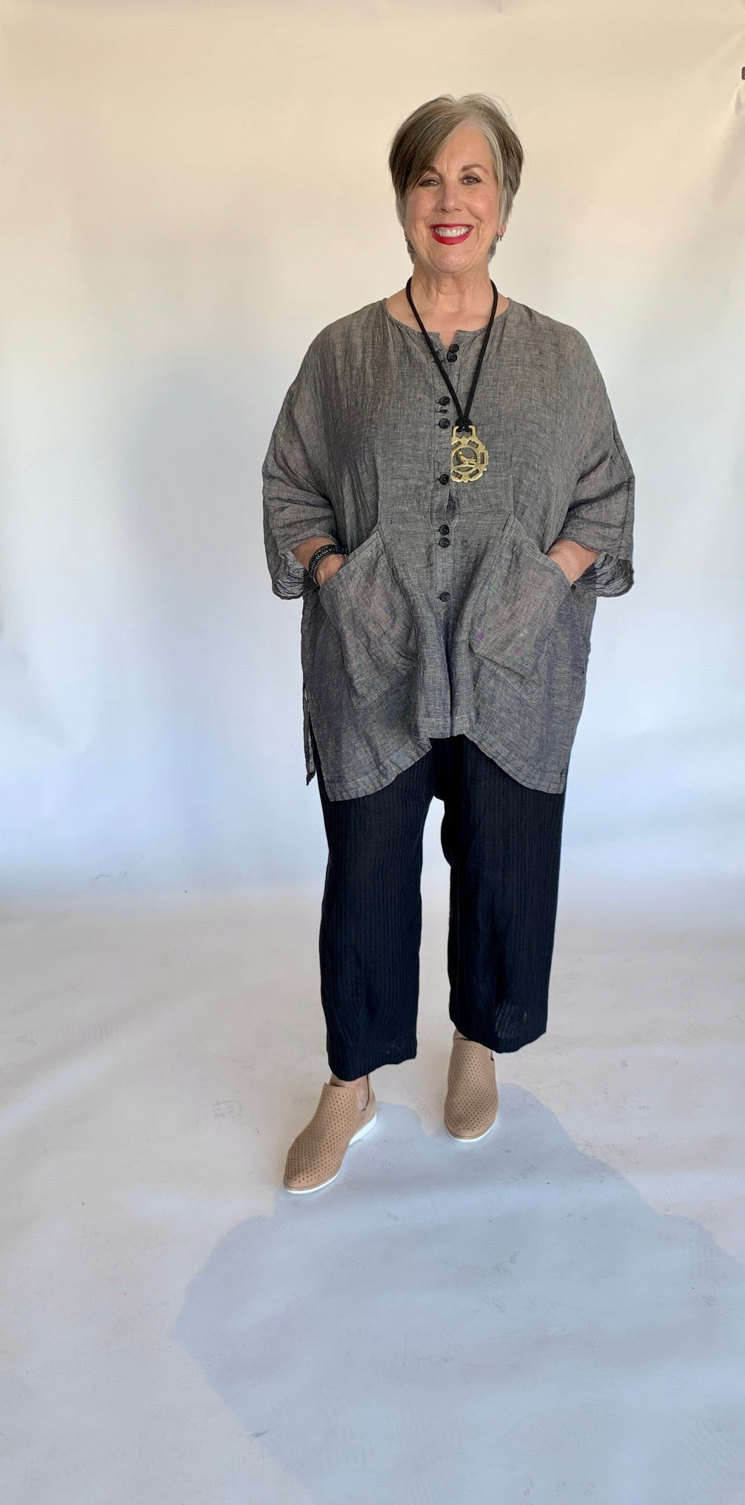 Linen Button Down Tunic Blouse
