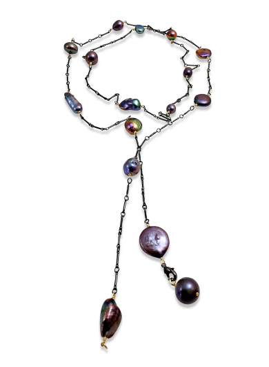 Peacock Pearl Lariat Necklace