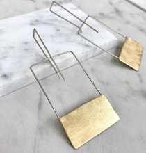 Load image into Gallery viewer, Geometric Square Brass Earrings