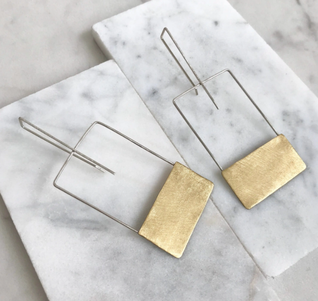 Geometric Square Brass Earrings