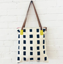Load image into Gallery viewer, Navy Squares Tote Bag