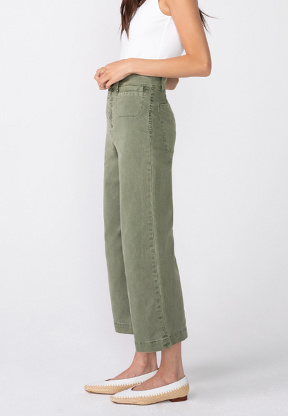 Cotton Stretch Twill Wide Leg Crop Jean