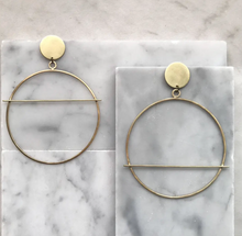 Load image into Gallery viewer, Rise and Fall Brass Hoops