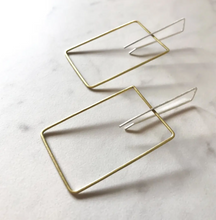 Load image into Gallery viewer, Minimalist Square Brass Earrings