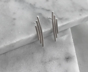 Sterling Silver Triple Curved Bar Studs