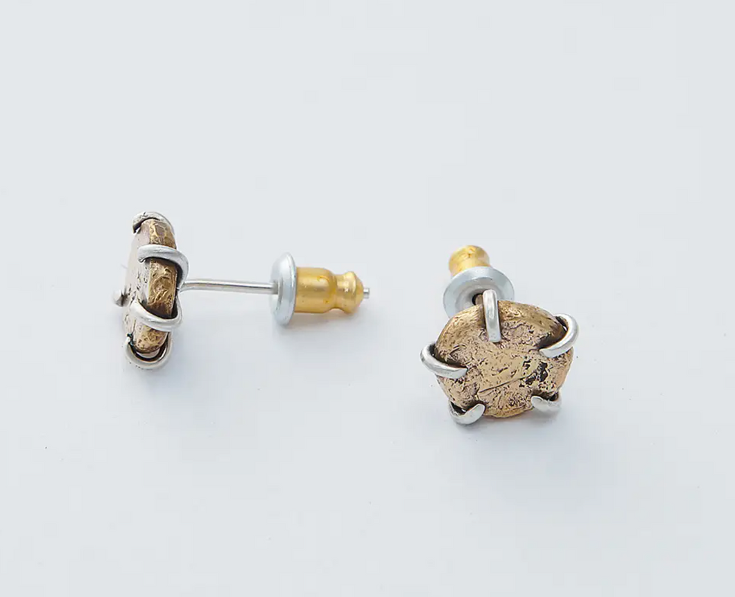 Silver Prong on Hammered Brass Studs