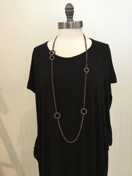 Long Chain Metal Bead Necklace