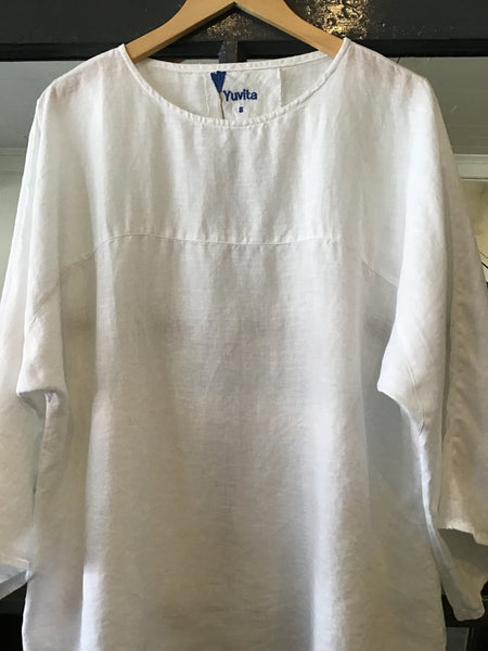 Relaxed White Linen Blouse