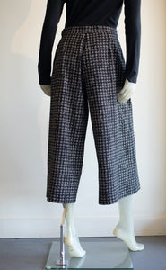 Baci Houndstooth Pleated Wide Leg Trousers